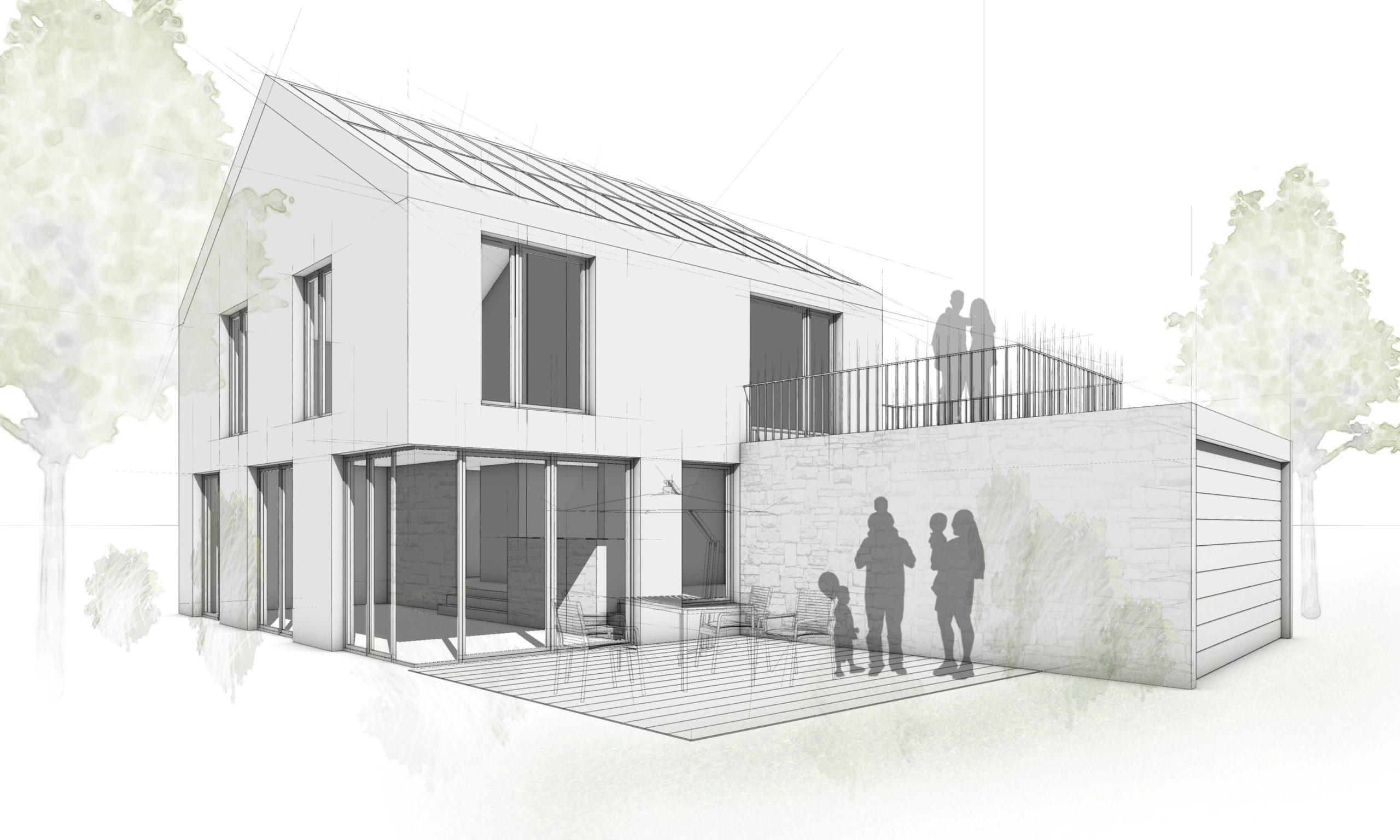 neubauten Haus Skizze